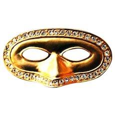 Mid Century Gold Tone Mask Pin w/ Clear Rhinestones