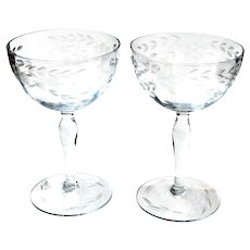 2 Vintage Champagne Saucers Etched Toasting Glasses