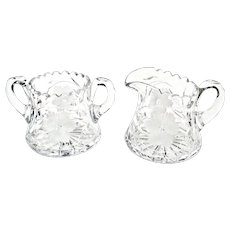 American Brilliant Period Cut Glass Creamer Sugar Set