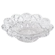 Vintage Clear Pressed Glass 7 inch Pedestal Bowl
