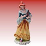 Ceramic Figurine Lovely Lady w/ Angel Nativity Harp