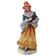 Ceramic Figurine Lovely Lady w/ Angel Nativity Harp