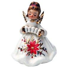 Mid Century Josef Originals Christmas Poinsettia Angel w/ Accordion