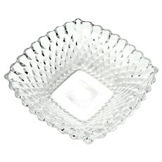 Small Square Teardrop Bubble Glass Nut / Candy Dish Federal Glass Late 1940s