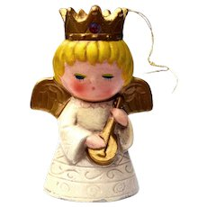 Mid Century Chalkware Angel Christmas Tree Ornament Parma by AAI Made In Japan