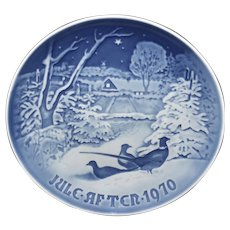 B & G Denmark Christmas Plate 1970 Pheasants in the Snow at Christmas