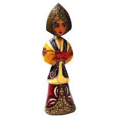 Vintage Handcrafted Hand Painted Wooden Russian Christmas Tree Ornament