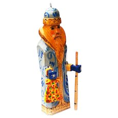 Vintage Father Frost Christmas Santa Handcrafted Hand Painted Wooden Ornament from Russia