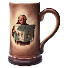 Antique 1 L Tankard Mug Friar Monk Reading Newspaper Maddock & Sons Staffordshire England