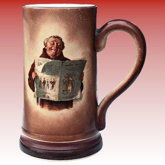 Antique 1 L Tankard Mug Friar Monk Reading Newspaper Maddock & Sons Staffordshire England