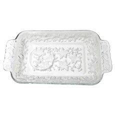 Vintage Princess House Fantasia Glass Poinsettias Holiday Platter Tray