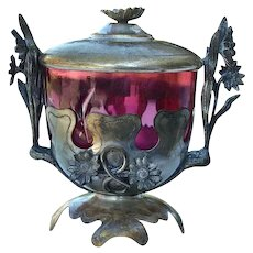 Art Nouveau Cranberry Glass Bon Bon Dish & Cover