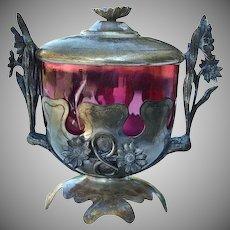 Art Nouveau Cranberry Glass Bon Bon Dish & Cover