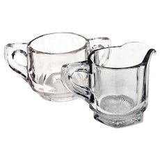 Antique Heisey Clear Glass Paneled Open Sugar Bowl & Creamer Set