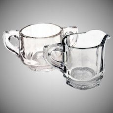 Antique Heisey Clear Glass Paneled Open Sugar Bowl & Creamer Set