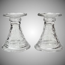 2 Vintage Clear Glass Candle Holders Vases Punch Bowl Base