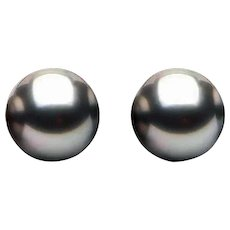 7 mm Gray Black Peacock Cultured Freshwater Pearl Earring Studs Gold Plate Pushbacks