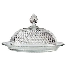 Diamond Point Covered Butter Dish ~ Vintage Indiana Glass 1965