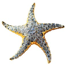 Vintage Starfish Rhinestone Pin Brooch 2 inches