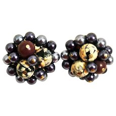 Navy Blue Gray Beaded Cluster Clip-on Earrings Made in Japan 1940s