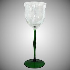 * HOLIDAY SPECIAL * 4 Crystal Wine Glasses Romanian Handcrafted Green Stemmed Etched