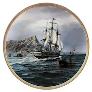 Collector Plate 23K Gold Rim U.S.S. CONSTITUTION by Tom Freeman Hamilton Collection 1987