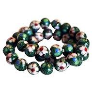 "Vintage Green Based Floral Cloisonné 20"" Hand knotted Necklace"