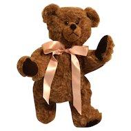 Vintage Brown Teddy Bear w/ Pink Ribbon Circa 1990