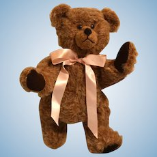 Vintage Brown Teddy Bear w/ Pink Ribbon Circa 1990