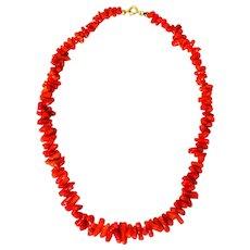 "Vintage 17"" Red Coral Branch Necklace"