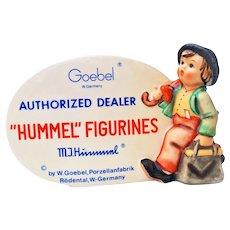 Goebel Hummel Authorized Dealer Sign #187A w/ The Wanderer Figurine 1976