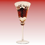 Vintage Handcrafted Romanian Crystal Wine or Water Goblet w/ 24KG