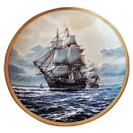 Collector Plate 23K Gold Rim BONHOMME RICHARD America's Greatest Sailing Ships Hamilton Collection