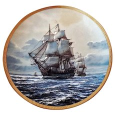 Collector Plate 23K Gold Rim BONHOMME RICHARD America's Greatest Sailing Ships Hamilton Collection