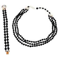 Mid-Century Faceted Black Onyx Necklace & Bracelet