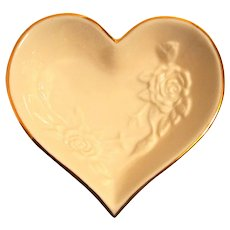 Cream Heart Shaped 4 inch Dish w/ Raised Roses - Lenox Heart Collection
