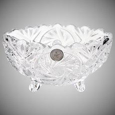 Clear Footed Oval Crystal Bowl Made in Poland Candy Bon Bon Dish