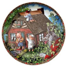 Three Little Pigs Collector Plate Once Upon A Time Series Edwin M Knowles 1988