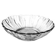 Vintage Pressed Glass 10 inch Bowl w/ Alternating Textured & Frosted Panels
