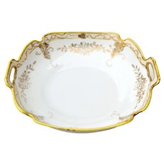Hand Painted Nippon Porcelain Bowl Dish w/ Gold Trim & Handles Maruki Backstamp