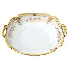 Hand Painted Nippon Porcelain Bowl Dish w/ Gold Trim & Handles Maruki Backstamp