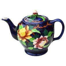 Maling Newcastle on Tyne Pottery Teapot Peony Blue Circa 1930-1932
