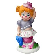 Enesco Giftware Vintage 1985 Blonde Girl Clown Figurine