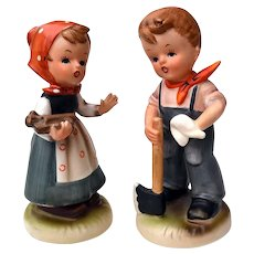 Pair of Japan Hummel Style Boy & Girl Figurines