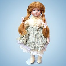 Strawberry Blond Hair Porcelain Doll 15 1/2 inches
