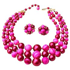 Mid-Century Pink Raspberry Triple Strand Beaded Necklace & Cluster Clip-On Earrings