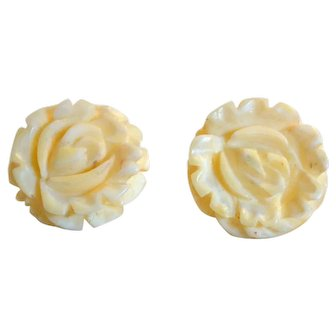 Ivory Colored Rose Stud Earrings for Pierced Ears