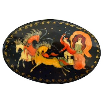 Hand Painted Wooden Russian 'Troika Sleigh' Brooch Signed