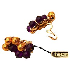 Rare Mid Century Crown Trifari Gold & Purple Beaded Clip Earrings