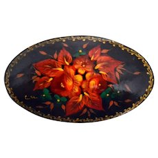 Hand Painted Wooden Russian Brooch